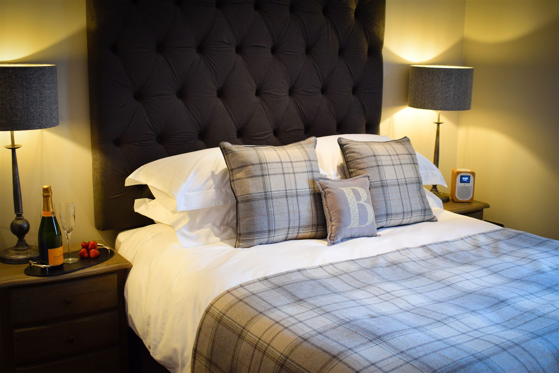 Our master bedroom at Benoch Lomond Castle self-catering apartment is perfect for romantic breaks